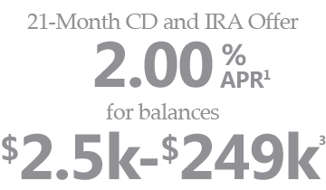 21-Month CD and IRA Offer. 2.00% APR for balances $2.5k - $249k.