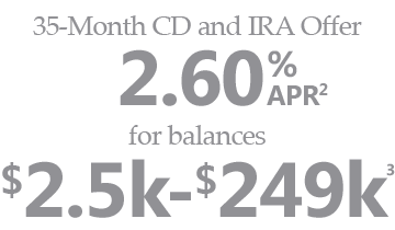 35-Month CD and IRA Offer. 2.60% APR for balances $2.5k - $249k.