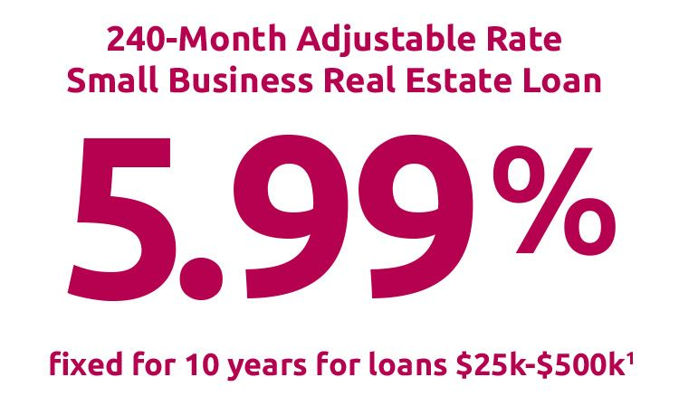 240 Month Adjustable Rate Small Business Real Estate Loan 5.99% fixed for 10 years for loans $25,000 - $500,000