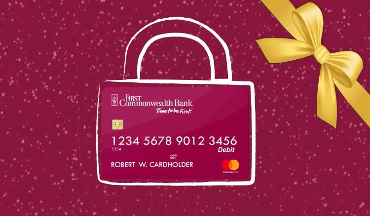 Holiday image of debit card