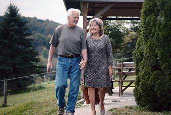 Walt and Lorraine Miles walking