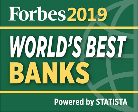Forbes 2019 World's Best Banks Logo - Powered by STATISTA