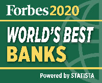 Forbes 2020 World's Best Banks Logo - Powered by STATISTA
