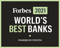 Forbes 2021 World's Best Banks Logo - Powered by STATISTA